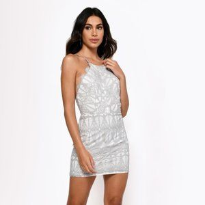 Tobi ◦ Gray High Neck Lace Bodycon Dress